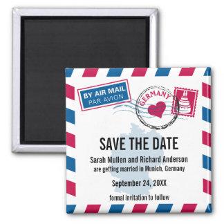 Deutschland-Luftpost, die Save the Date Wedding is Quadratischer Magnet