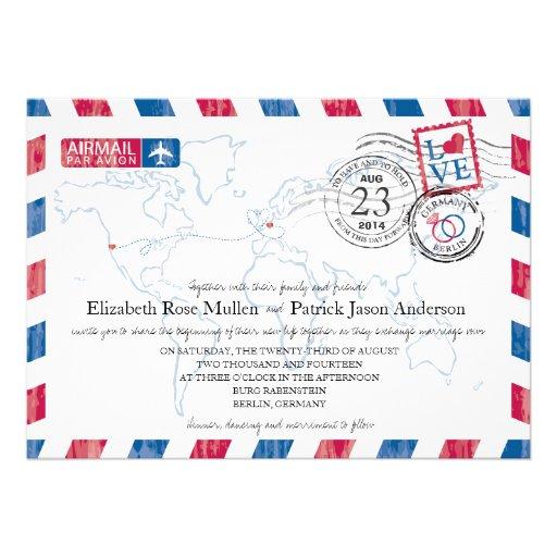 Deutschland-Luftpost-Hochzeits-Einladung