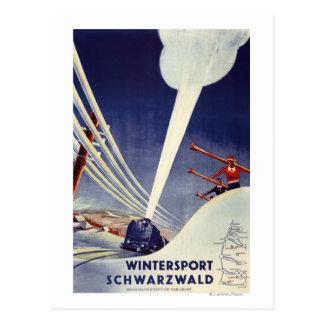 Deutschland - Skifahren im Schwarzwald Postkarte
