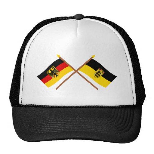 Deutschland u. Baden-Württemburg Flaggen, gekreuzt Retrokultkappe