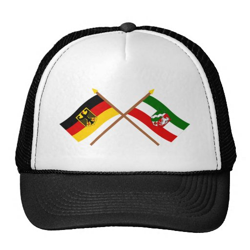 Deutschland u. Nordrhein-Westfalen Flaggen gekreuz Kult Kappen