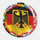 Deutschland u. seine Länder, die Flaggen Runder Aufkleber