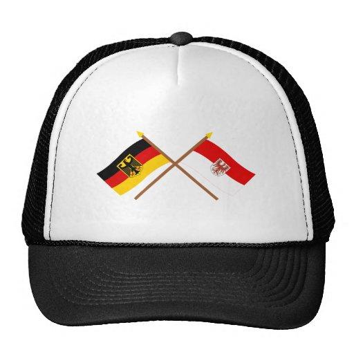 Deutschland und Brandenburg Flaggen, gekreuzt Baseball Cap