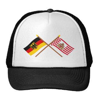 Deutschland und Bremen Flaggen gekreuzt