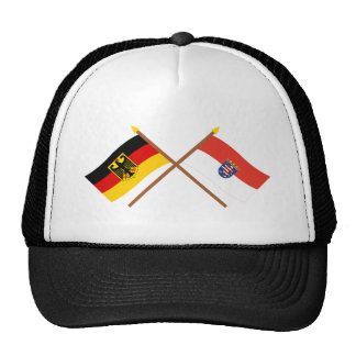 Deutschland und Hessen Flaggen, gekreuzt Retrokappe