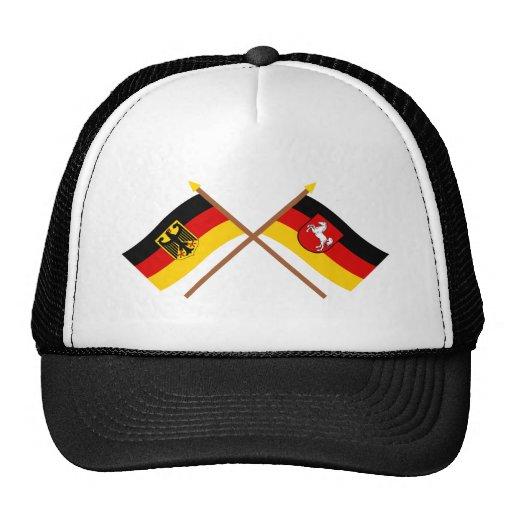 Deutschland und Niedersachsen Flaggen, gekreuzt Trucker Mütze