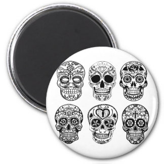 Dia de Los Muertos Skulls (Tag der Toten) Runder Magnet 5,7 Cm