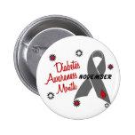Diabetes-Bewusstseins-Monats-graues Band 1,1 Button