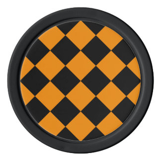 Diag Checkered großes - Schwarzes und Mandarine Poker Chips Set