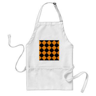 Diag Checkered großes - Schwarzes und Mandarine Schürze