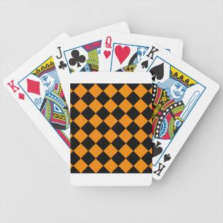 Diag Checkered - Schwarzes und Mandarine Bicycle Spielkarten