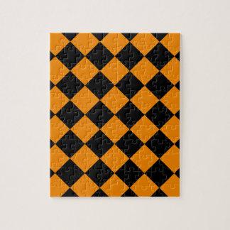 Diag Checkered - Schwarzes und Mandarine Puzzle