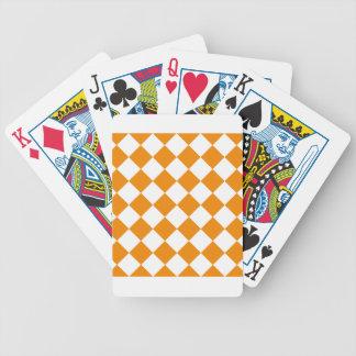 Diag Checkered - Weiß und Mandarine Bicycle Spielkarten