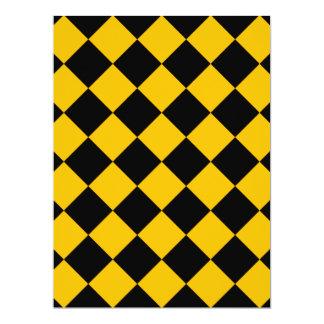 Diag kariert - Schwarzes und Bernstein 16,5 X 22,2 Cm Einladungskarte
