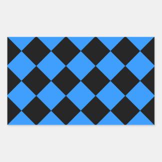 Diag kariert - Schwarzes und Dodger-Blau Rechteckiger Aufkleber