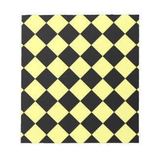 Diag kariert - Schwarzes und Gelb Notizblock