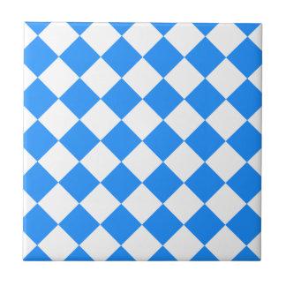 Diag kariert - Weiß und Blau Fliese