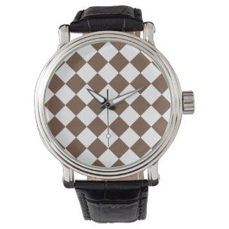 Diag kariert - Weiß und Kaffee Armbanduhr
