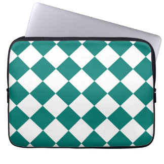 Diag kariert - Weiß und Kiefern-Grün Laptop Sleeve