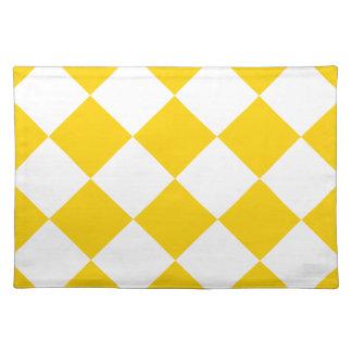 Diag kariertes Groß-Licht gelbes und dunkles Gelb Stofftischset