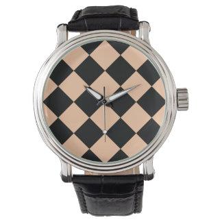 Diag kariertes großes - schwarzer und tiefer armbanduhr