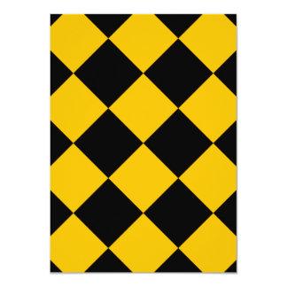 Diag kariertes großes - Schwarzes und Bernstein 11,4 X 15,9 Cm Einladungskarte