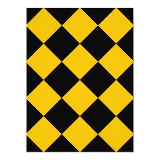 Diag kariertes großes - Schwarzes und Bernstein 16,5 X 22,2 Cm Einladungskarte