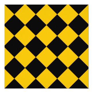 Diag kariertes großes - Schwarzes und Bernstein Quadratische 13,3 Cm Einladungskarte