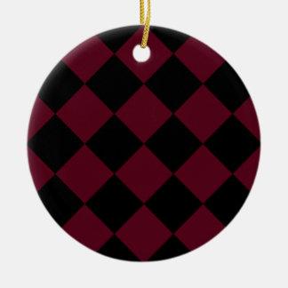 Diag kariertes großes - schwarzes und dunkles keramik ornament