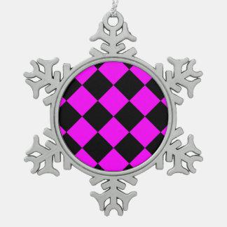 Diag kariertes großes - Schwarzes und Fuchsie Schneeflocken Zinn-Ornament