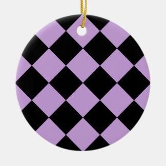 Diag kariertes großes - Schwarzes und Glyzinien Keramik Ornament