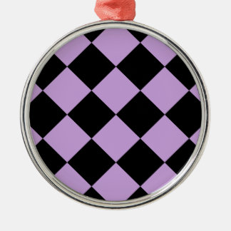 Diag kariertes großes - Schwarzes und Glyzinien Silbernes Ornament