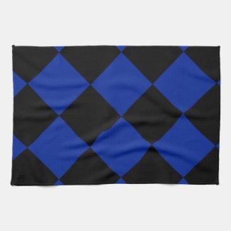 Diag kariertes großes - schwarzes und Kaiserblau Handtuch