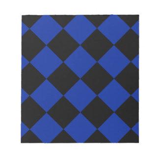 Diag kariertes großes - schwarzes und Kaiserblau Notizblock