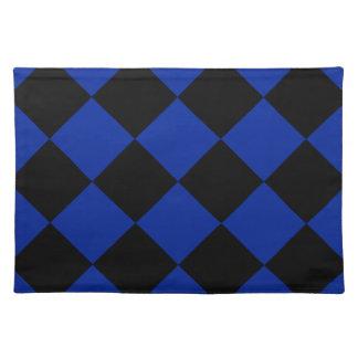 Diag kariertes großes - schwarzes und Kaiserblau Stofftischset