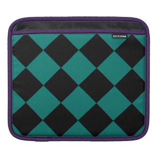 Diag kariertes großes - Schwarzes und Kiefern-Grün Sleeve Für iPads