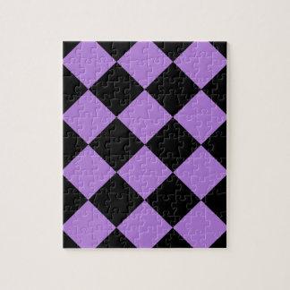 Diag kariertes großes - Schwarzes und Lavendel Puzzle