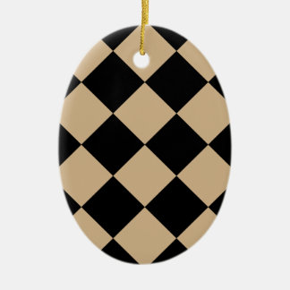 Diag kariertes großes - Schwarzes und TAN Keramik Ornament