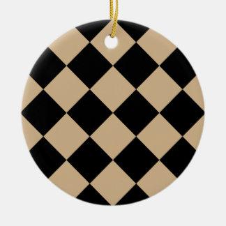 Diag kariertes großes - Schwarzes und TAN Rundes Keramik Ornament