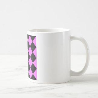 Diag kariertes großes - Schwarzes und ultra Rosa Kaffeetasse