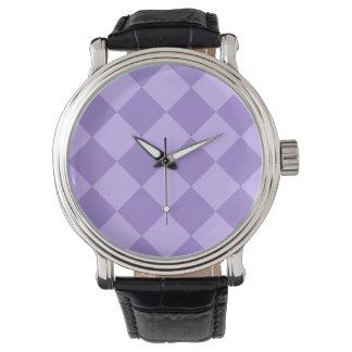 Diag kariertes großes - violett und hellviolett armbanduhr