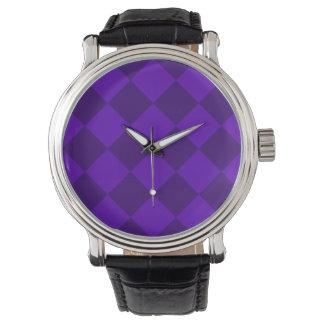 Diag kariertes großes - violettes und dunkles armbanduhr