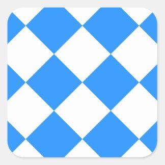 Diag kariertes großes - Weiß und Dodger-Blau Quadratischer Aufkleber