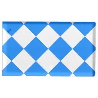 Diag kariertes großes - Weiß und Dodger-Blau Tischnummernhalter