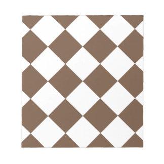 Diag kariertes großes - Weiß und Kaffee Notizblock