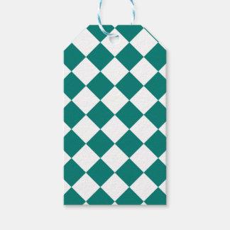 Diag kariertes großes - Weiß und Kiefern-Grün Geschenkanhänger