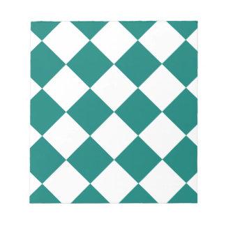 Diag kariertes großes - Weiß und Kiefern-Grün Notizblock