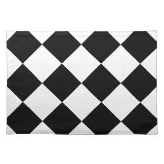 Diag kariertes großes - Weiß und Schwarzes Stofftischset