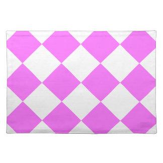 Diag kariertes großes - Weiß und ultra Rosa Tischset
