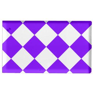 Diag kariertes großes - Weiß und Veilchen Platzkartenhalter